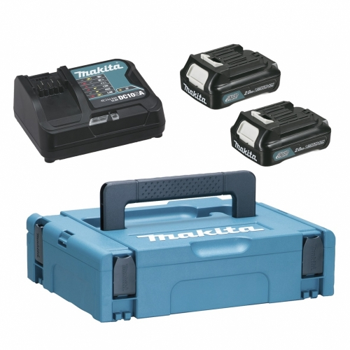 Makita Battery Kit 12V2.0Ah x 2pc, Fast Charger x 1pc MKP1SA122