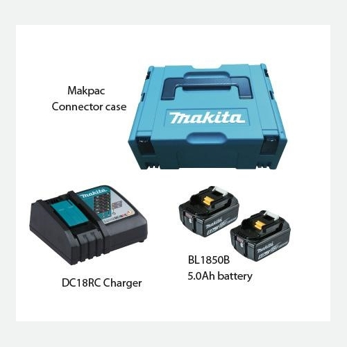Makita Battery Kit18V5.0Ah x 2pc, Fast Charger x 1pc MKP1RT182