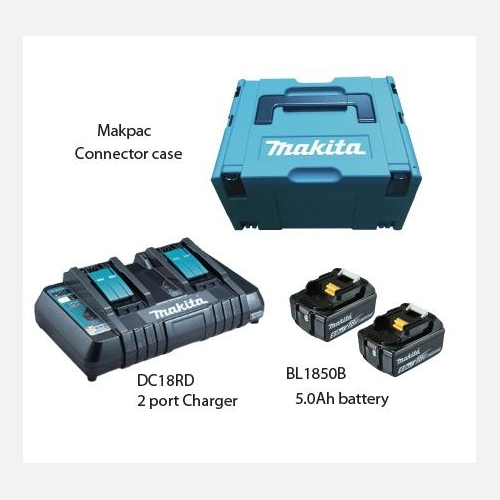 Makita Battery Kit18V5.0Ah x 2pc, Multi Charger x 1pc MKP3PT182