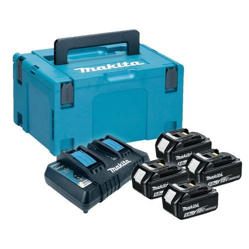 Makita Battery Kit18V5.0Ah x 4pc, Multi Charger x 1pc MKP3PT184