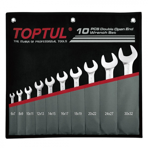 Toptull Double Open End Wrench Set - POUCH BAG - BLACK