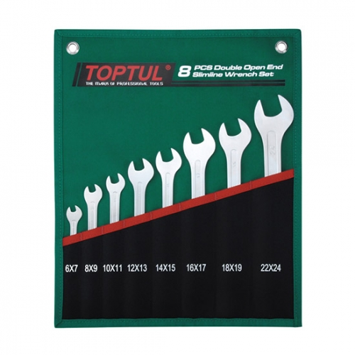 Toptul 8PCS Double Open End Slimline Wrench Set - POUCH BAG - GREEN (Satin Chrome Finished)