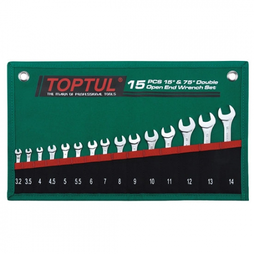 Toptul 15PCS 15° & 75° Double Open End Wrench Set - POUCH BAG - GREEN (Satin Chrome Finished)