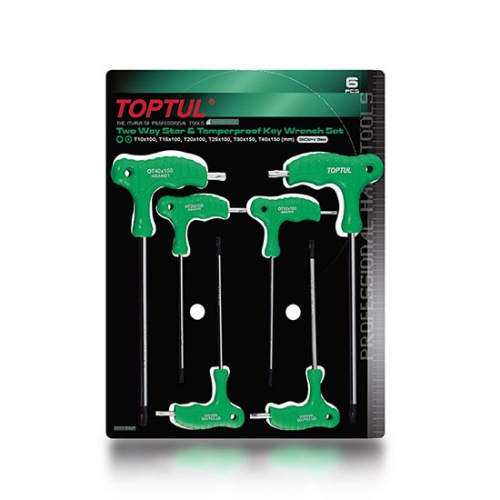 Toptul 6PCS Two Way Star & Tamperproof Key Wrench Set