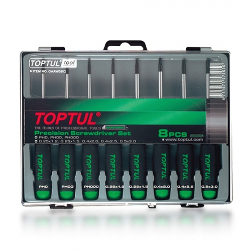 Toptul 8PCS Precision Screwdriver Set (Slotted & Phillips Type)