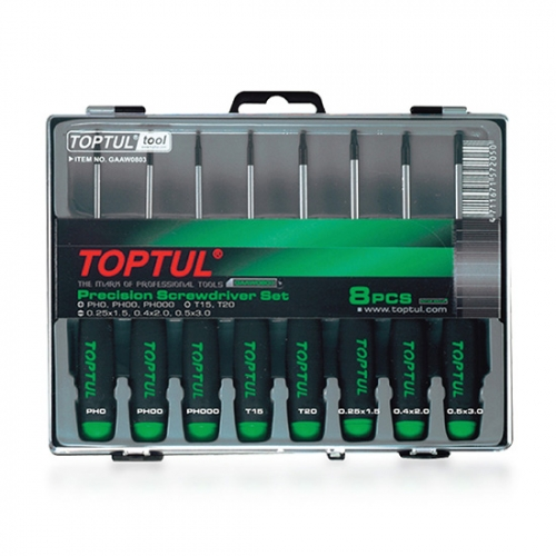 Toptul 8PCS Precision Screwdriver Set (Slotted, Phillips & Star Type)