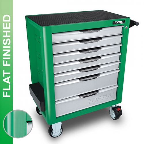 Toptul NEW MODEL - 7-Drawer Mobile Tool Trolley - PRO-PLUS SERIES - GREEN - Flat Finished