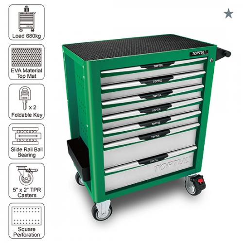 Toptul 7-Drawer Mobile Tool Trolley - PRO-PLUS SERIES - GREEN