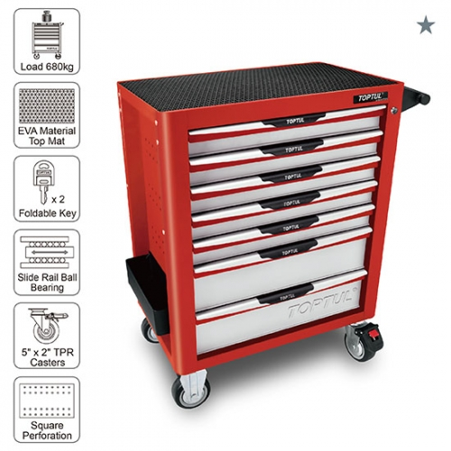 Toptul 7-Drawer Mobile Tool Trolley - PRO-PLUS SERIES - RED