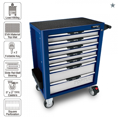 Toptul 7-Drawer Mobile Tool Trolley - PRO-PLUS SERIES - BLUE
