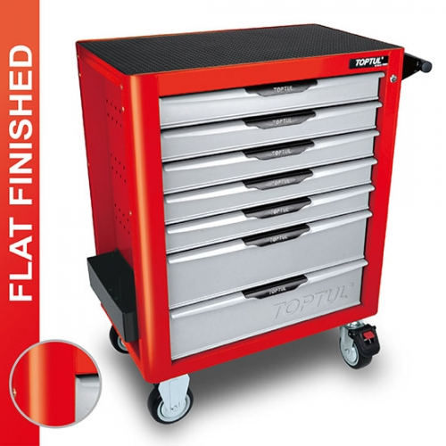 W/7-Drawer Tool Trolley - 227PCS Mechanical Tool Set (PRO-PLUS SERIES) RED - Flat Finished