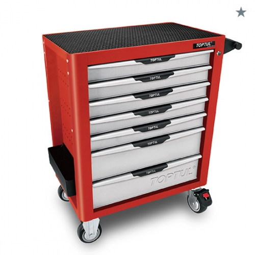 W/7-Drawer Tool Trolley - 229PCS Mechanical Tool Set (PRO-PLUS SERIES) RED - Flat Finished