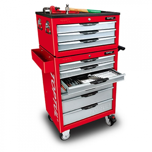 W/3-Drawer Tool Chest + W/7-Drawer Tool Trolley (PRO-LINE SERIES) RED