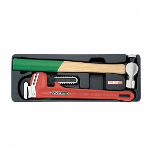 2PCS - Pipe Wrench & Ball Peen Hammer Set