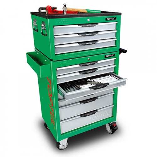 W/3 Drawer Tool Chest + W/7 Drawer Tool Trolley (PRO-LINE SERIES) GREEN