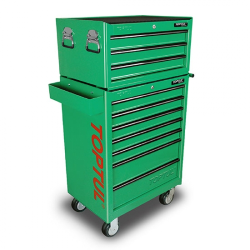 W/3 Drawer Tool Chest + W/7 Drawer Tool Trolley (GENERAL SERIES) GREEN