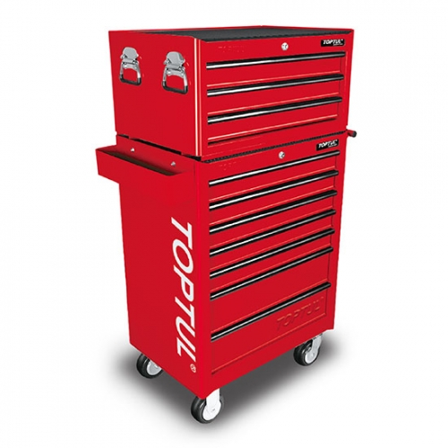 W/3 Drawer Tool Chest + W/7 Drawer Tool Trolley (GENERAL SERIES) RED