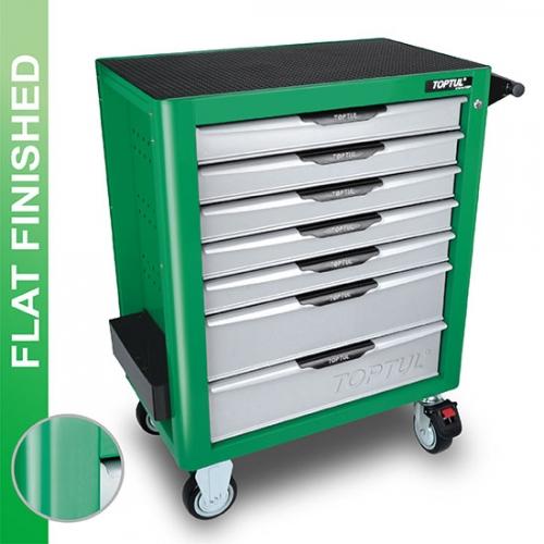 W/7-Drawer Tool Trolley - 214PCS Mechanical Tool Set (PRO-PLUS SERIES) GREEN - Flat Finished