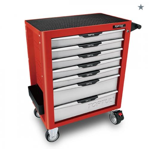W/7-Drawer Tool Trolley - 214PCS Mechanical Tool Set (PRO-PLUS SERIES) RED