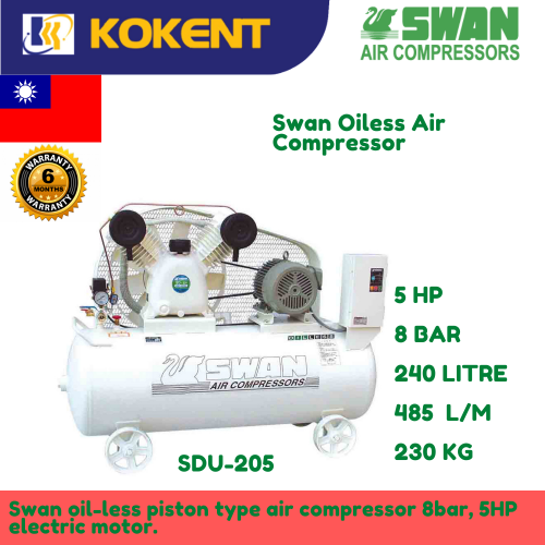 Swan Oil Less Air Compressor 5HP, 8Bar, 485L/min, 230kg SDU-205