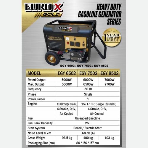 EURO X EGY 6502 7502 8502 (L) Heavy Duty Gasoline Generator