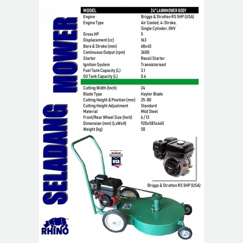 24'' LAWN MOWER WITH B&S RS 5HP