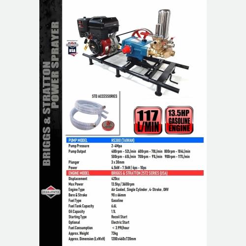 B&S XR 13.5HP WITH HS380 POWER SPRAYER
