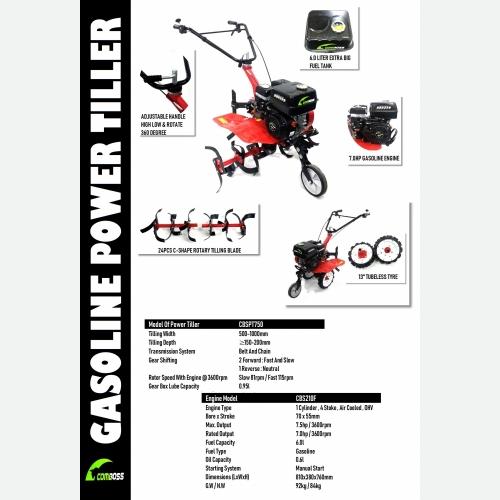 CBSPT750 POWER TILLER WITH B&S XR 6.5HP