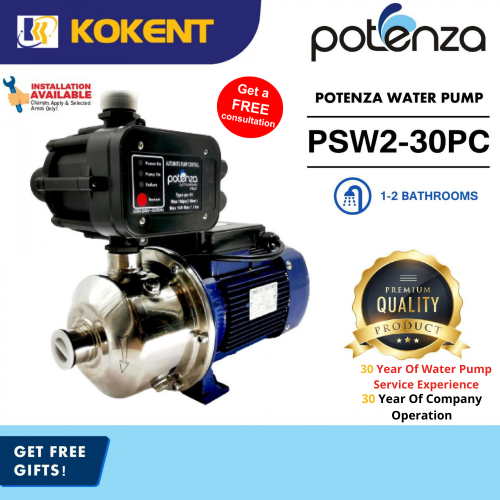 POTENZA PSW2-30PC (0.5HP) Home Water Booster Pump Suitable 1-2 Bathrooms
