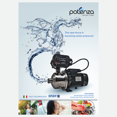 POTENZA PSW2-40PC(0.75HP) Home Water Booster Pump Suitable 1-3 Bathrooms