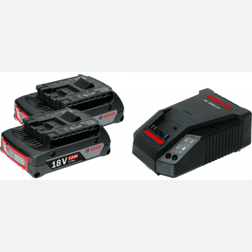 Bosch Li-Ion Battery 18Vx2.0Ah(2pc) & Fast Charger AL1860CV Set