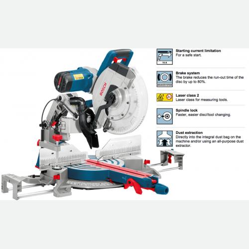Bosch Slide Miter Saw 305mm, 1800W, 3800rpm, 32kg GCM12GDL