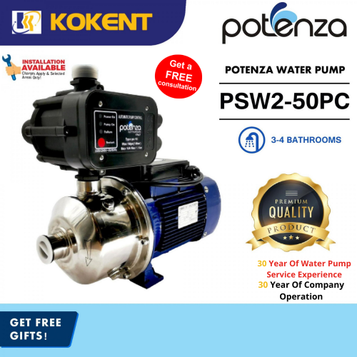 POTENZA PSW2-50PC (0.8HP) Home Water Booster Pump Suitable 3-4 Bathrooms
